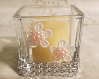 Votive Candle HOLDER, Gift for woman, Unique Gift, Housewarming Gift,  Silver Rhinestone & Pink/White Flowers, Candleholder, Vanilla Candle