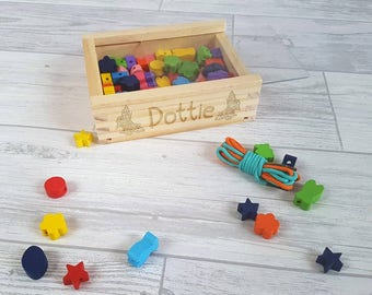 Personalised Bead Kit, Jewellery making, Threading, Wooden Toy- 00008