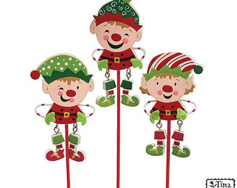 "New Santa's Elves Picks, 3 1/2""H X 1 1/2""W. 11 1/2""Tall with pick. Elf Picks for Christmas Decor"