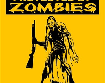 Caution Beware of Zombies Sign 2496HYZO
