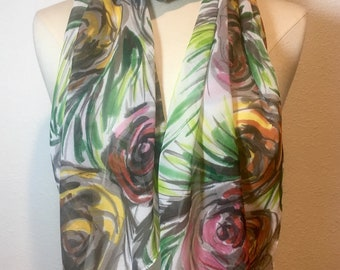 Vintage Tropical Floral, green, grey, pink and yellow abstract roses, peonies, hand painted silk georgette scarf
