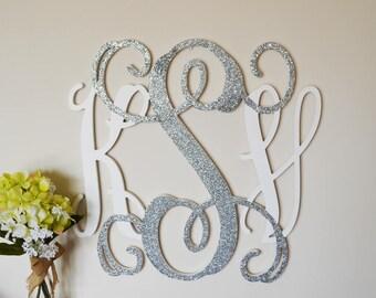 Dorm Room - Wooden Monogram Wall Hanging - Monogram Sign - Glittered Monogram - Nursery Monogram - Letters for Wall