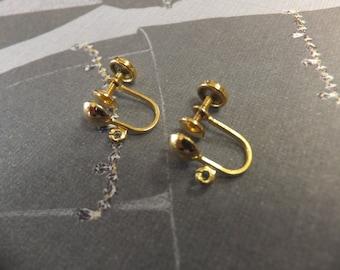 12K Gold Filled Screw Back Earring Clips, Clip On, Pair, Italian, Sorrento