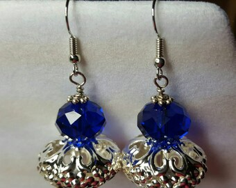 Large Silver Filigree and Cobalt Earrings