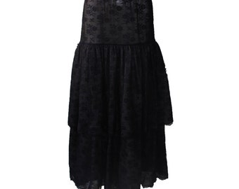 Vintage Mary McFadden Black Lace Long Layered Skirt 1980s