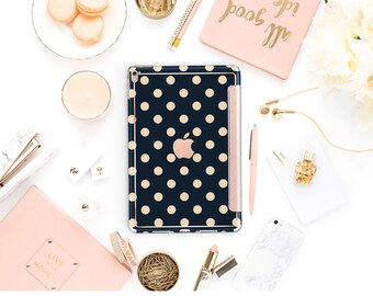 iPad Case . iPad Pro 10.5 . Rose Gold Polka Richmond Rose Navy Blue with Rose Gold Smart Cover Hard Case for  iPad mini 4  iPad 9.7 2017