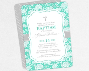 Girl Baptism Invitation, Christening Invitation, Printable Baptism Invitation, PDF Invite, DIY Invite, Lace, Floral, Damask, Blue, Gracie