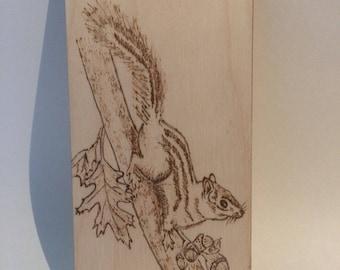 Wood Burning Plaque - Chipmunk / Squirrel