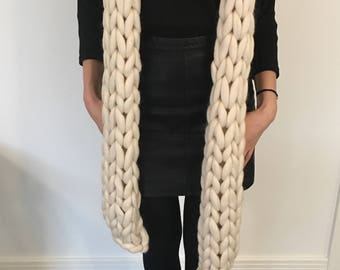 Chunky Knit Scarf - Merino Wool - 35+ Colours