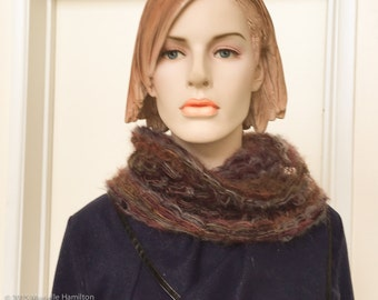 IN STOCK Knit Cowl Neckwarmer Neck Scarf Headwrap Beanie Kid Mohair Dark Brown Purple Gray Plum
