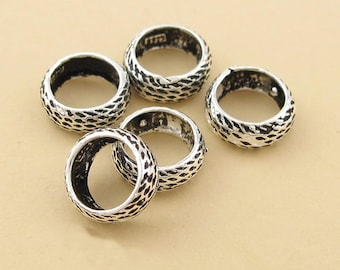 2pcs 10mm 925 Sterling Silver emboss big hole ring ethnic Beads / Findings / Spacer, Antique Beads