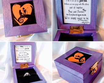 """Nightmare before Christmas """"We Were Simply Meant to Be"""" Disneys Tim Burtons Jack & Sally inspired Engagement Ring Box. Ring not included."""