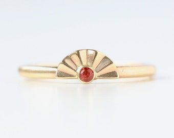 Sunset Ring with Oregon Sunstone - Recycled 14k Gold Stacking Ring