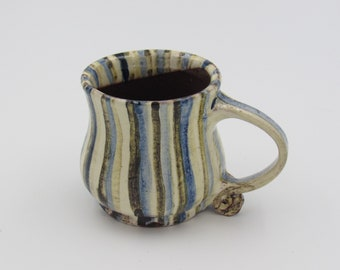 Mug, Handmade, Slipware, Earthenware, Hand painted, Stripey, Unique