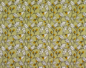 Sage Green Acorns and Leaves Oilcloth Wipeclean Fabric Tablecloth