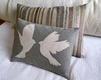 hand printed  greys bird cushion