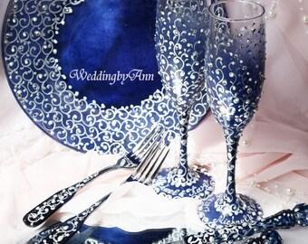 Wedding champagne flutes & cake server set, forks and plate, Navy Wedding, Bridal Shower Gift, Wedding Gift, 7 pcs