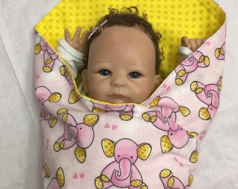 Extra Large Receiving Baby Flannel Blanket- Pink Elephant, Yellow Polka Dots