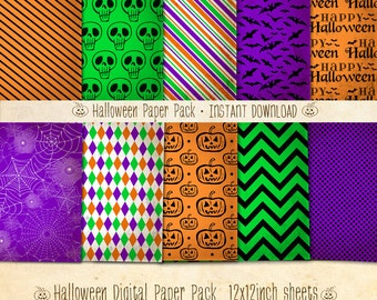 Halloween Paper Pack Spooky & Spunky 10 Digital Sheets - INSTANT DOWNLOAD - Scrapbooking Card Making Party Decoration by Sassaby Parties