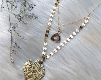 MERSIN - Smoky Quartz Gold Disc Birds Sheild Double Strand Necklace