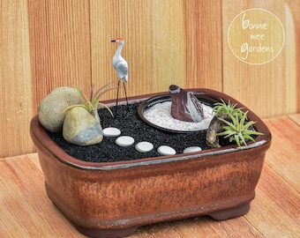 Miniature Zen Garden Kit with Bonsai Planter / Mini Japanese Garden Accessories