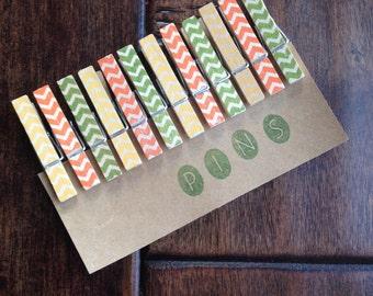 Summer Mix** Chevron Clothespins - Set of 12 Handstamped Clothes Pins