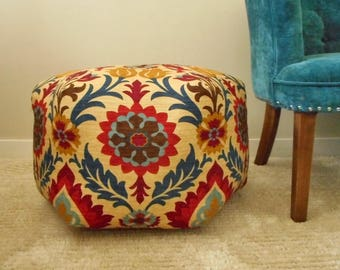 Large Pouf Ottoman - Fabric Moroccan Foot Stool, Floral Pouf