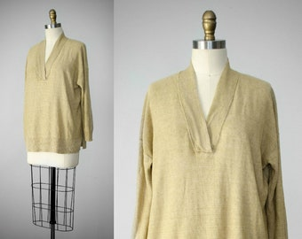 tan linen top | oversized linen top | linen tunic | tan tunic | Ralph Lauren linen tunic