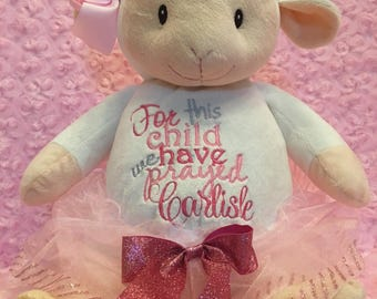 Lamb,Personalized Baby Gift, stuffed animal, birth announcement, new baby gift, baptismal, monogrammed, embroidered, Adoption Gotcha