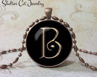 "PERSONALIZED Initial Necklace with Gold Letter - 1-1/4"" Circle Pendant or Key Ring - Handmade  Wearable Photo Art Jewelry - Your own Initial"