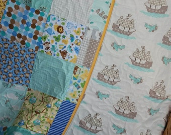 Handmade Baby Quilt, crib quilt, toddler quilt Owls and Monkeys, Aqua Brown Blue Yellow Crib Blanket, Nursery Quilt Sailing ships reversible