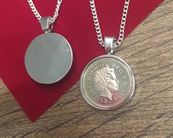 1997 21st Five pence coin pendant - silver plated