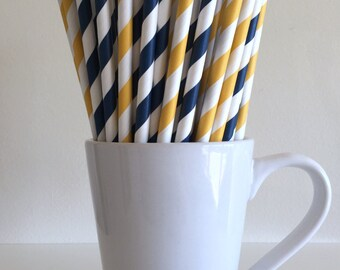 Navy Blue and Golden Yellow Striped Paper Straws Party Supplies Party Decor Bar Cart Cake Pop Sticks Mason Jar Straws  Graduation
