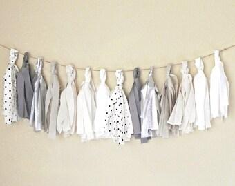 Fabric Tassel Garland, Tassel Banner Garland, Black and White Nursery Decor, Gray and Black Baby Shower Banner, Tassel Bunting Wedding