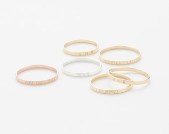 Personalized Stacking Band • Custom Roman Numeral Ring • Dainty Name Ring • Initials Ring • Minimal Stacking Personalized Rings • LR502_1.8