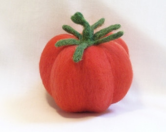 Needle Felted Heirloom Tomato - Pink Ribbed - Felted Tomato - Felt Fruit - Needlefelt Tomato - Home Decor - Kitchen Decor
