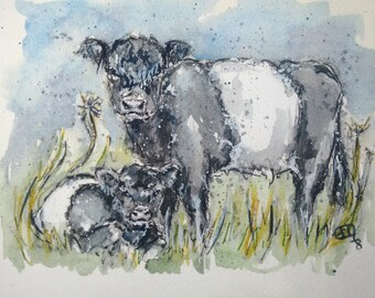 Belted Galloway cow painting original watercolour, oreo cow and calf farm animal art, black and white striped cow and calf original art