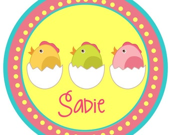 Pink Springy Easter chicks for a happy spring iron on at giggles to go