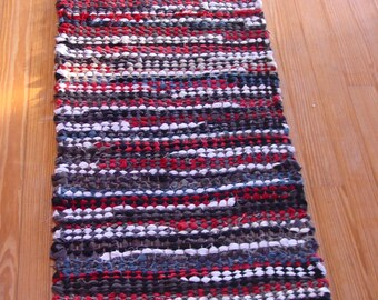 """Handwoven Rag Rug, """"Black and White and Red All Over"""""""