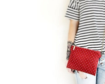 Polka dot clutch purse Suede crossbody bag chain strap Small leather shoulder bag Red suede clutch Chain zip shoulder purse Bag with strap