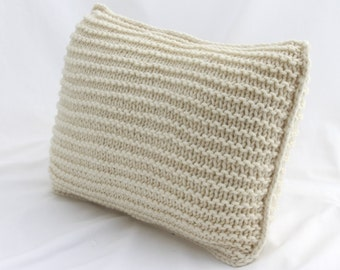 Rectangular Knitted Cushion Cream, with Purl Stitch Rows made from Soft and Chunky Acrylic Yarn in. 35 x 50 cm. Hand Knitted. Natural.