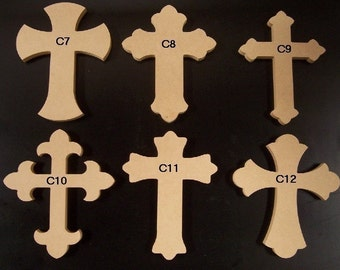"""6"""" x 9"""" Unfinished Wooden Crosses, Choose from 8 different styles, Ready to Paint, w/key holes. A"""
