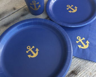 Anchor Cups Plates and Napkins Gold Glitter Anchor and Navy Blue Party Cups and & Black and Red Glitter Lips Party Plates Cups and Napkins
