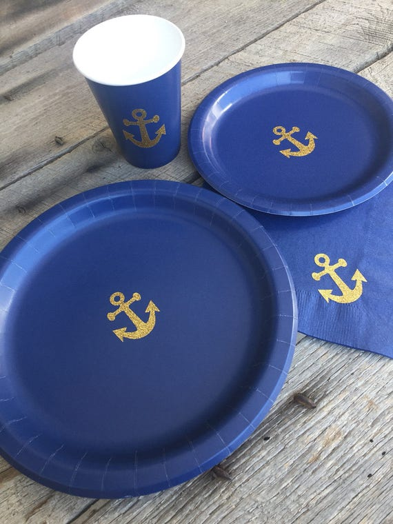 & Anchor Cups Plates and Napkins Gold Glitter Anchor and Navy
