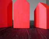 Pink Neon Geometric wooden houses, handmade home decoration, tabletop art sculptures wood