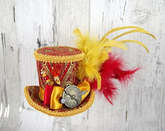 Red and Gold Damask Steampunk Medium Mini Top Hat Fascinator, Alice in Wonderland, Mad Hatter Tea Party, Derby Hat