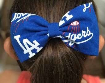 Los Angeles Dodgers HairBows/Dodgers Baseball / LA Dodgers fabric bow /Baseball Bow
