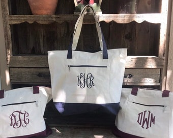 Monogrammed Zippered Canvas Tote