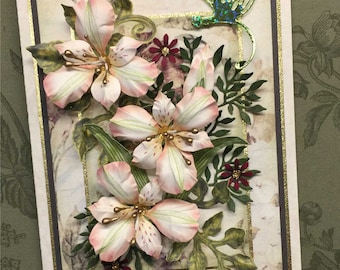 Delicate Lilies and Dragonfly Card