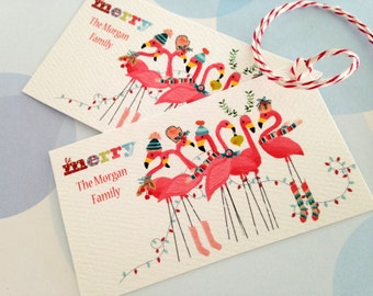 Personalized Christmas Gift Tags, Holiday Tags, Christmas Tags, Flamingo Tags, Set of 20